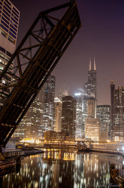 Photograph - Chicago Skyline Over Chicago River by Michael  Bennett