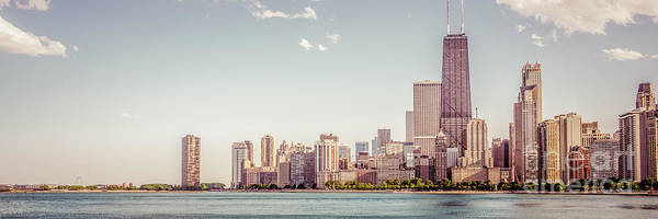 Chicago Skyline Art Photograph - Chicago Skyline Panorama Retro Photo by Paul Velgos