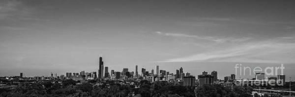 Photograph - Chicago Skyline Panoramic Black And White by David Haskett II