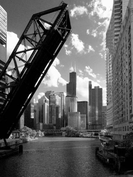 Photograph - Chicago-skyline-raised Bridge Black White by Patrick Malon