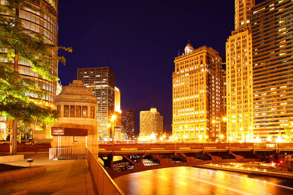 Chicago Skyline River Bridge Night Art Print