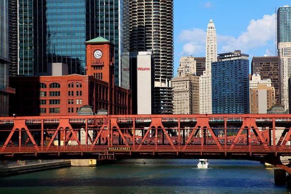 Chicago Skyline River Bridge Art Print