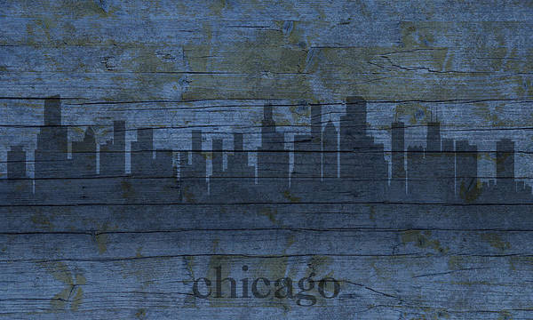Distress Mixed Media - Chicago Skyline Silhouette Distressed On Worn Peeling Wood by Design Turnpike