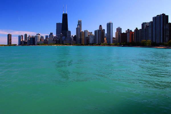 Chicago Skyline Teal Water Art Print