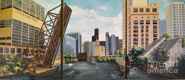 Painting - Chicago Skyline Triptych by Mary Palmer