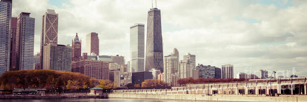 Chicago Skyline Art Photograph - Chicago Skyline Vintage Panorama Picture by Paul Velgos