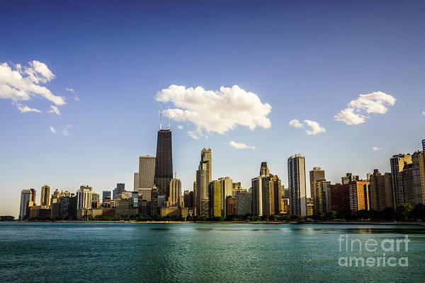 Chicago Skyline With Downtown Chicago Buildings Art Print