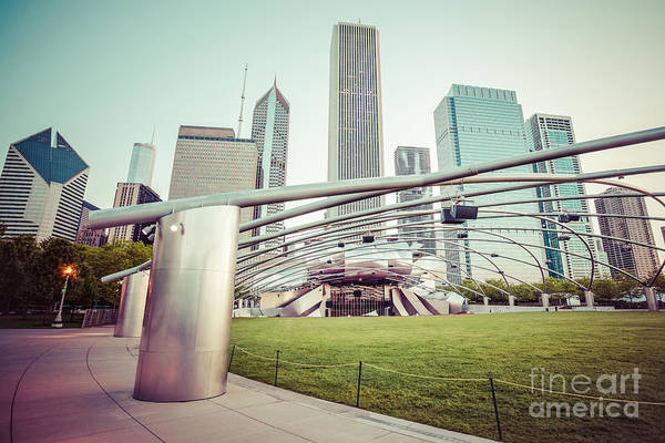 Pavilion Photograph - Chicago Skyline With Pritzker Pavilion Vintage Picture by Paul Velgos