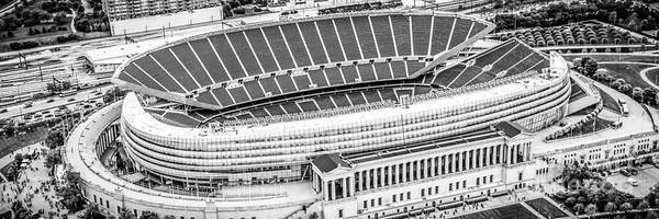 Soldier Field Photograph - Chicago Soldier Field Aerial Panorama Photo by Paul Velgos