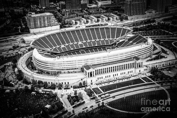 Wall Art - Photograph - Chicago Soldier Field Aerial Picture In Black And White by Paul Velgos