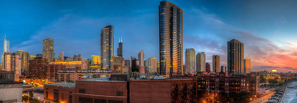 Chicago Sunset Photogtaphy Art Print by Michael  Bennett