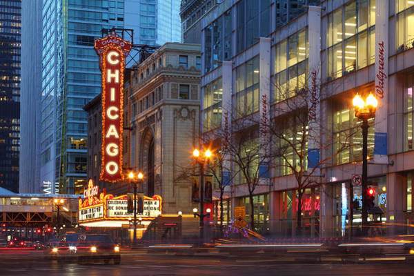 Chicago Theater At Dusk Art Print by Rainer Grosskopf