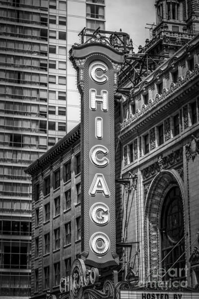 Sears Tower Photograph - Chicago Theater Sign In Black And White by Paul Velgos
