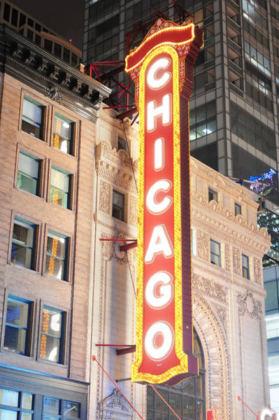 Photograph - Chicago Theatre Night View by Songquan Deng