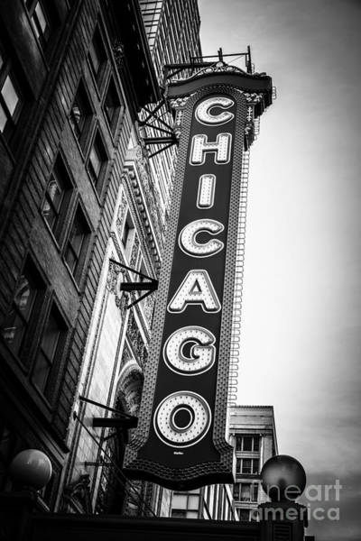 Venue Photograph - Chicago Theatre Sign In Black And White by Paul Velgos