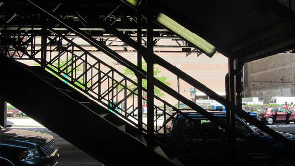 Photograph - Chicago Under The L Stair Silhouette  by Anita Burgermeister