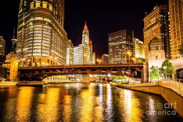 Wabash Avenue Wall Art - Photograph - Chicago Wabash Avenue Bridge At Night Picture by Paul Velgos