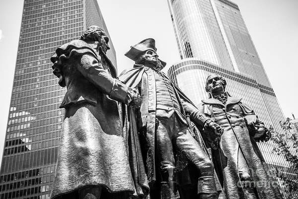 Editorial Photograph - Chicago Washington Morris Salomon Statue Black And White Picture by Paul Velgos