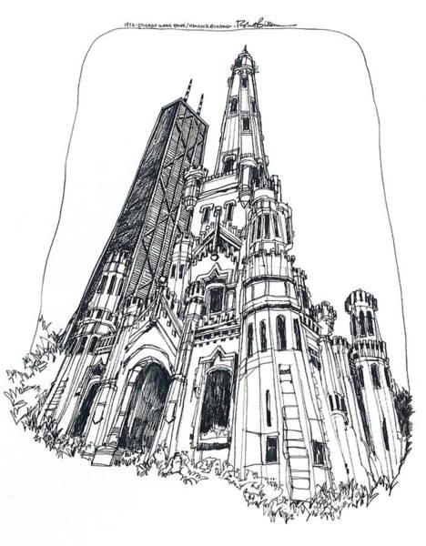Chicago Water Tower And Hancock Bldg Art Print