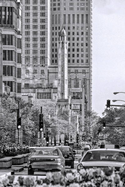 Photograph - Chicago Water Tower Beacon Black And White by Christopher Arndt