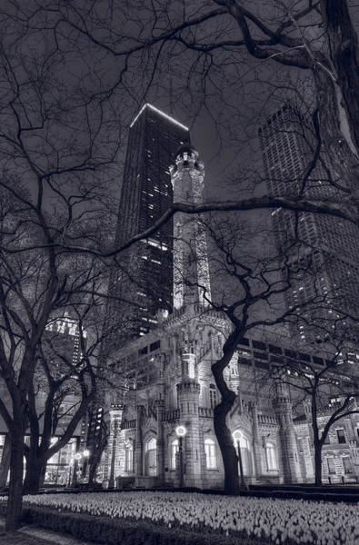 Hancock Tower Photograph - Chicago Water Tower Dusk B W by Steve Gadomski