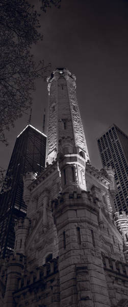 Chicago Water Tower Panorama B W Art Print