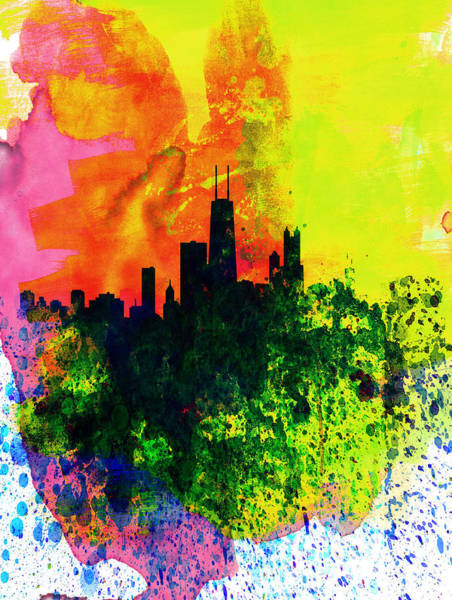Chicago Painting - Chicago Watercolor Skyline by Naxart Studio