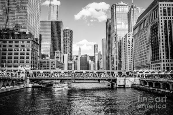 Wall Art - Photograph - Chicago Wells Street Bridge Black And White Picture by Paul Velgos