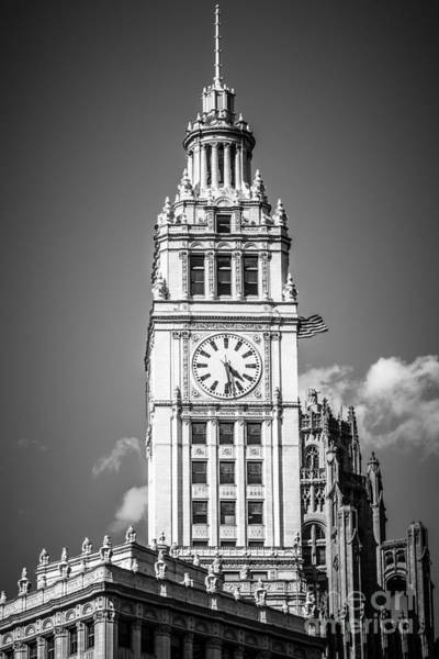 Sears Tower Photograph - Chicago Wrigley Building Clock Black And White Picture by Paul Velgos