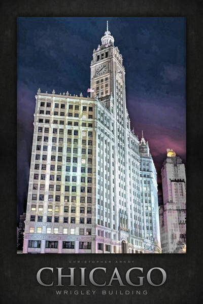 Painting - Chicago Wrigley Building Poster by Christopher Arndt