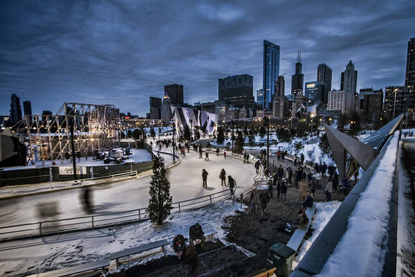 Photograph - Chicago's Ice Ribbon At Dusk by Sven Brogren