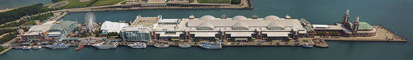 Photograph - Chicago's Navy Pier Aerial Panoramic by Adam Romanowicz