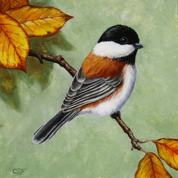 Back Painting - Chickadee - Autumn Charm by Crista Forest