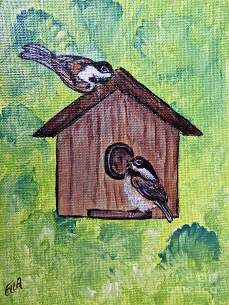 Happy Little Trees Painting - Chickadee Birds - Garden Home For Two - Painting by Ella Kaye Dickey
