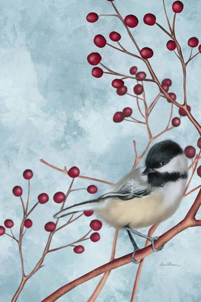 Holly Digital Art - Chickadee I by April Moen