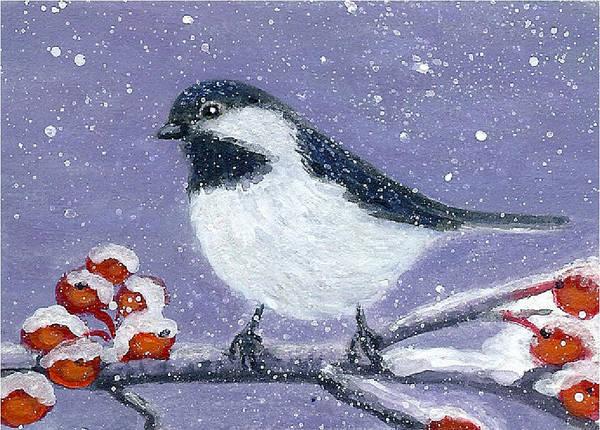 Painting - Chickadee Winter by Fran Brooks