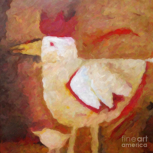 Roster Wall Art - Painting - Chicken And Hen by Lutz Baar