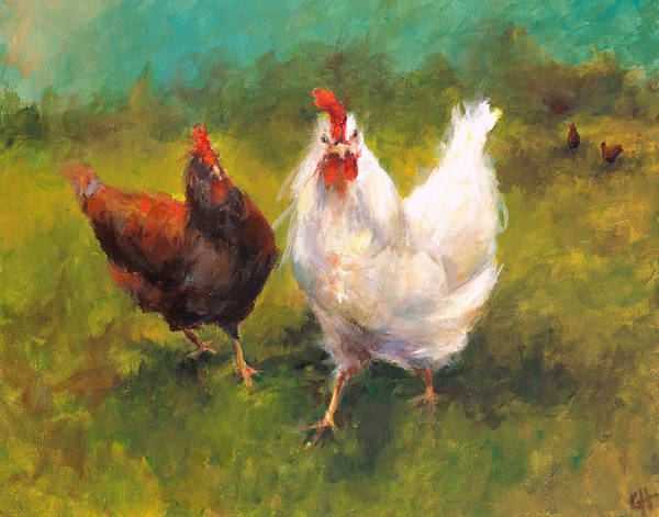 Hen Painting - Chicken Approach by Cari Humphry
