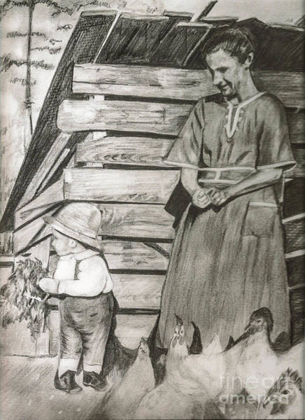 Drawing - Chicken Coop - Woman And Son - Feeding Chickens by Jan Dappen