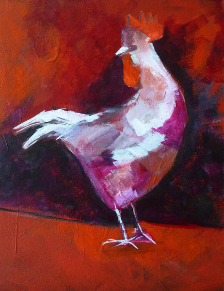 White Feathers Painting - Chicken Light by Nancy Merkle