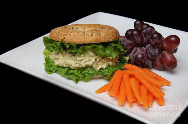 Purple Carrot Photograph - Chicken Salad Sandwich - Red Grapes - Baby Carrots - Deli by Andee Design
