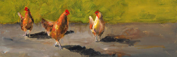 Wall Art - Painting - Chicken Shadows by Cari Humphry