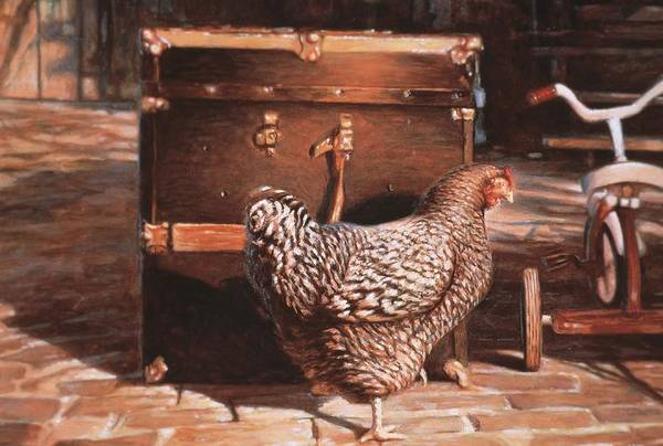Hans Droog Wall Art - Painting - Chicken With Trunk by Hans Droog