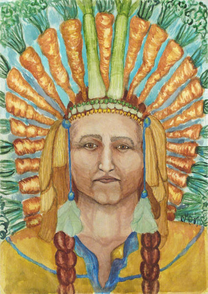 Husk Painting - Chief 24 Carrots by Carol Oufnac Mahan