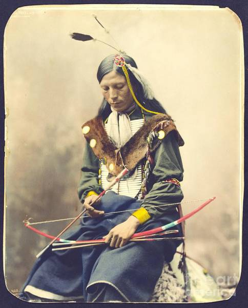 1899 Photograph - Chief Bone Necklace - Sinte by Pg Reproductions