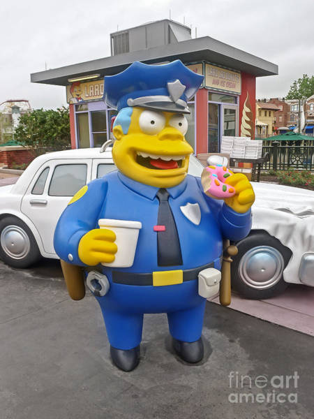 Theme Park Photograph - Chief Clancy Wiggum From The Simpsons by Edward Fielding
