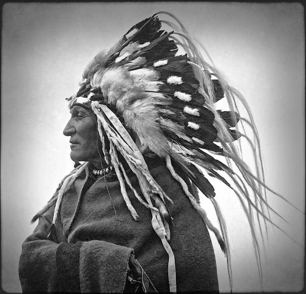 Cavalry Photograph - Chief Lazy Boy - 1918 by Daniel Hagerman