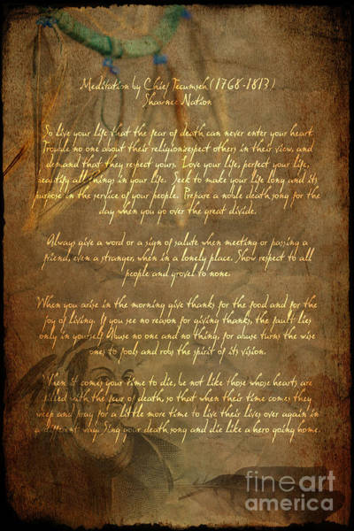 Digital Art - Chief Tecumseh Poem by Wayne Moran