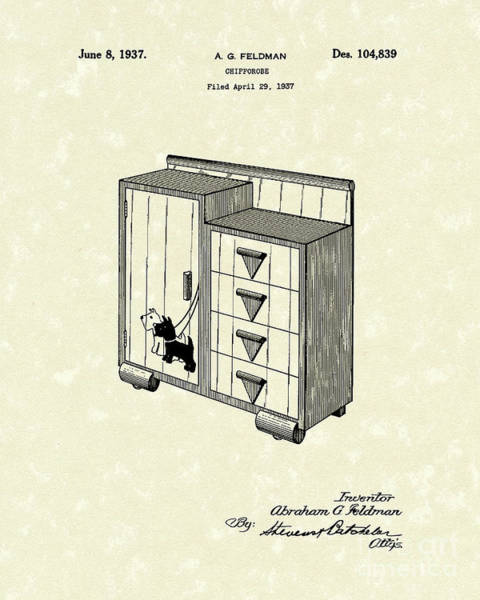 Wardrobe Wall Art - Drawing - Chifforobe 1937 Patent Art by Prior Art Design