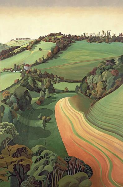 English Countryside Photograph - Chilcombe Bottom, Bath Oil On Canvas by Anna Teasdale